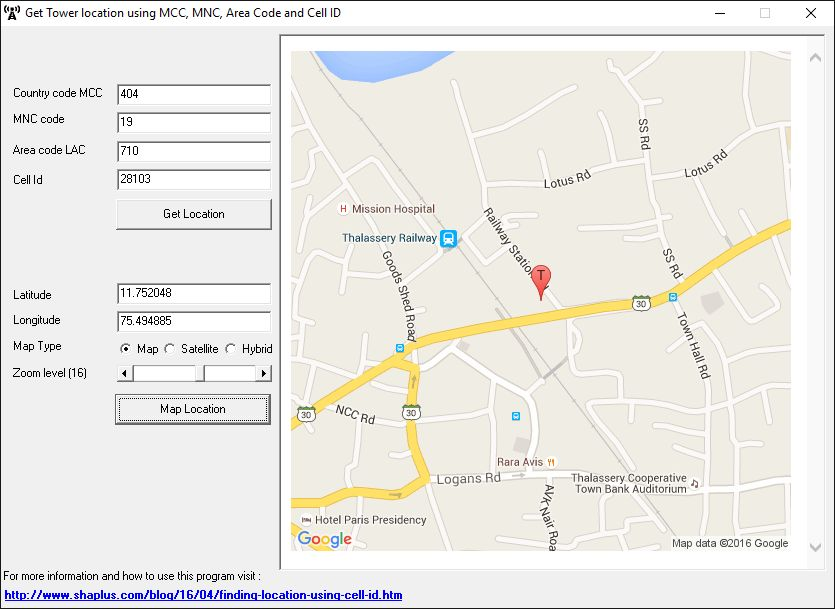 screenshot of program to find tower location using cellid